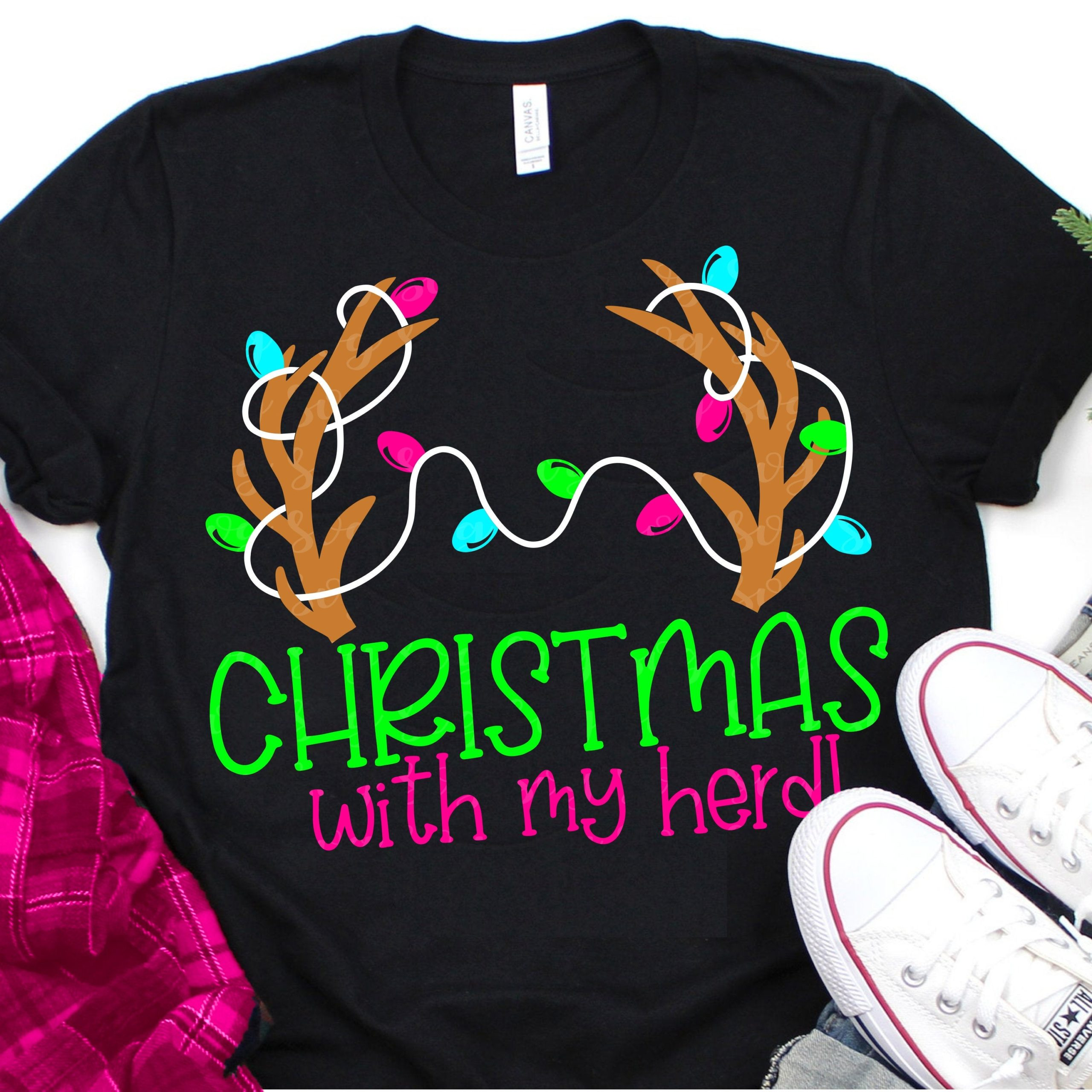 Christmas With My Herd Svg Antler With Lights Svg Christmas Svg Matching Family Svg Design Family Christmas Svg Svg For Cricut Antler Svg Svg For Cricut