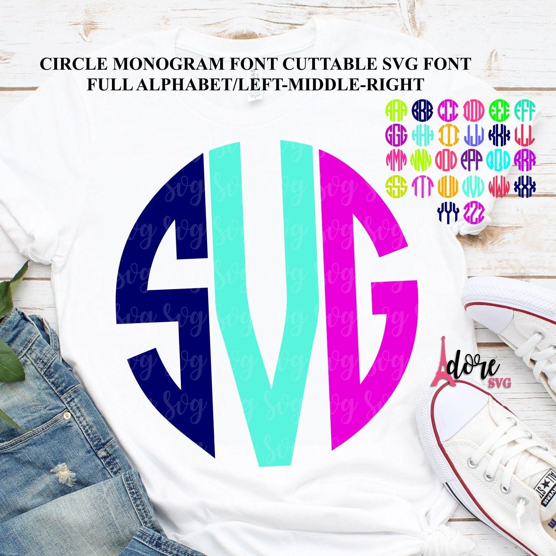 Circle Monogram Font Circle Monogram Svg Font Svg Monogram Font Letter Monogram Letters Svg Cricut Design Silhouette Designs Circle Font Svg For Cricut