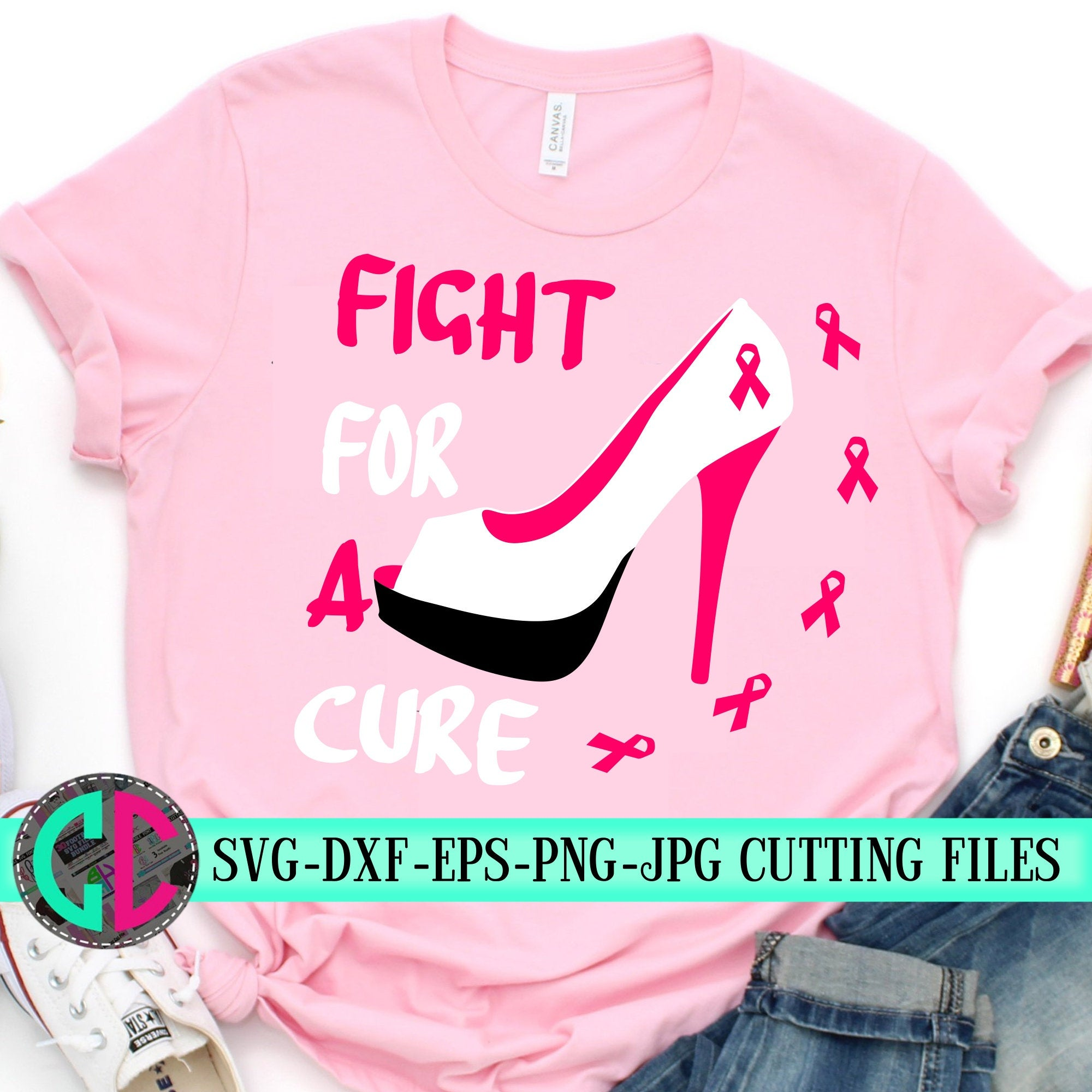 Fight-for-a-cure-svgbreast-cancer-svgheels-svgcancer-survivor-svgrelay-for-life-svgbreast-cancersilhouettetshirtcameosvg-for-cricut-5e2203d0