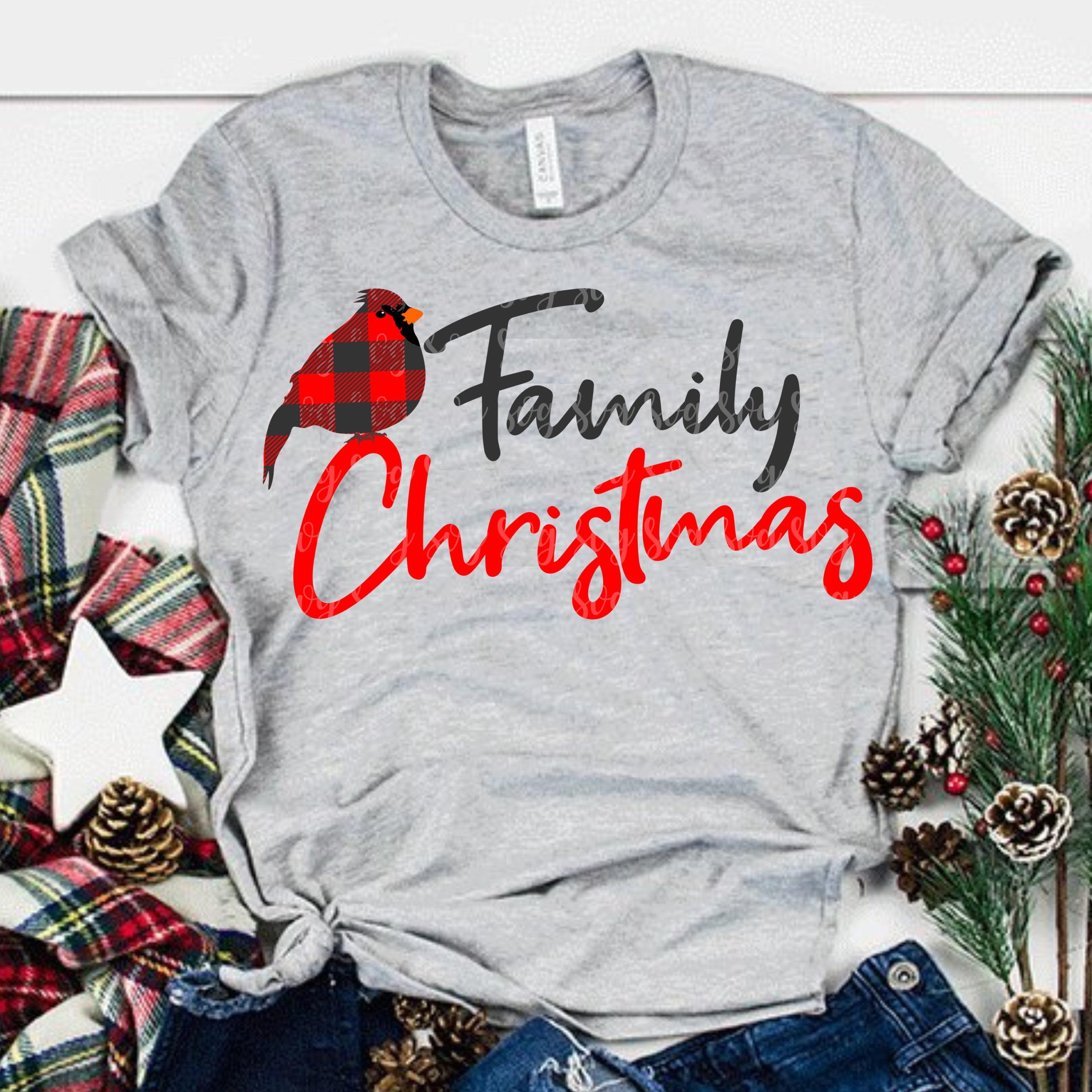 Red Bird Svg Family Christmas Svg Matching Shirt Svg Cardinal Svg Christmas Svg Svg For Cricut Eps Dxf Png Buffalo Plaid Svg Plaid Svg Svg For Cricut