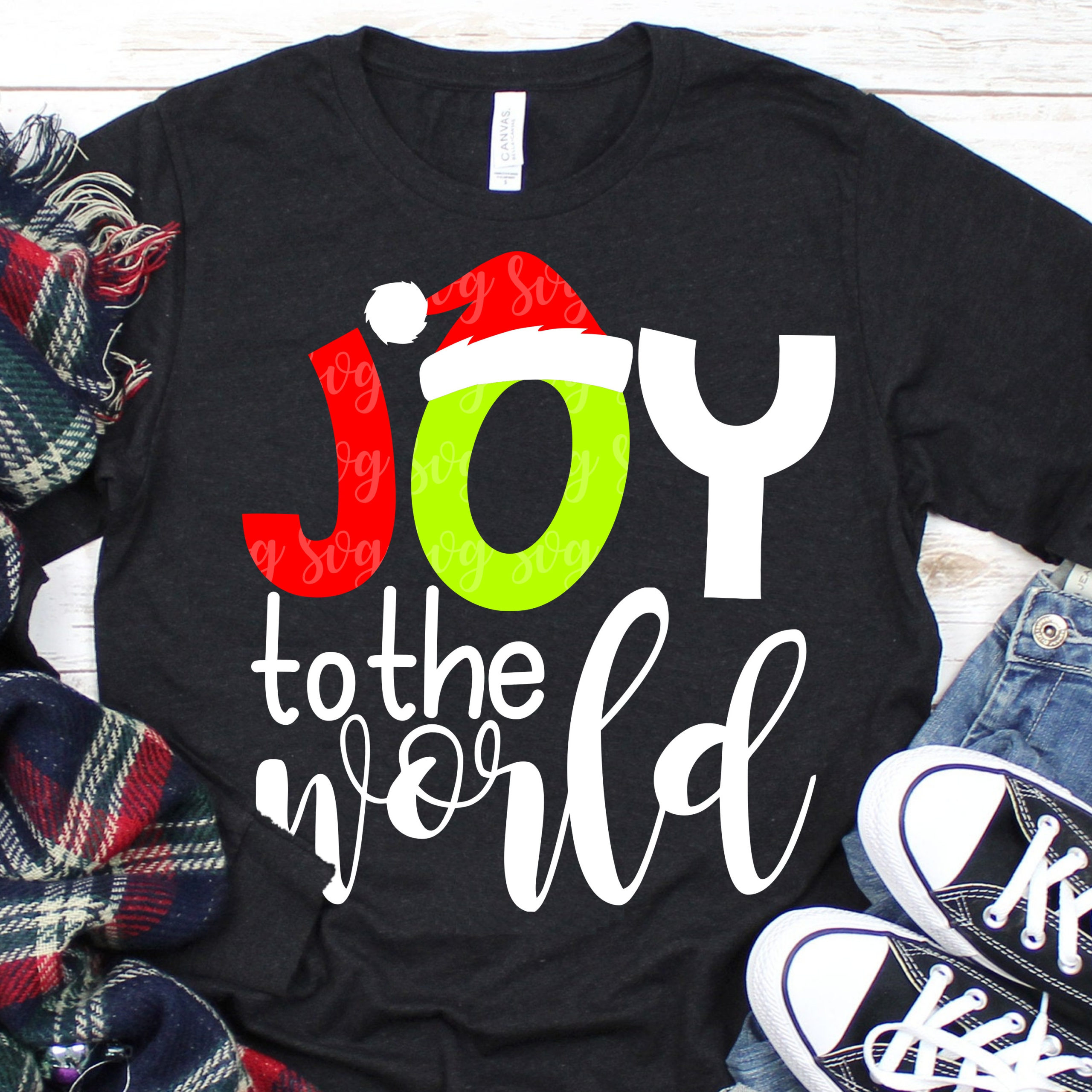 Santa Hat Svg Joy To The World Svg Christmas Saying Svg Christmas Svg Plaid Svg Svg For Circut Eps Svg Dxf Digital Download Clipart Svg For Cricut