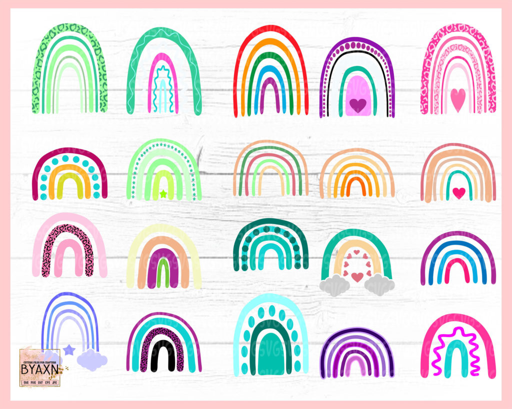 Boho Rainbow png svg Pastel Rainbow svg Rainbow SVG Bundle For Cricut Hand Drawn Rainbow svg Rainbow baby svg Rainbow svg